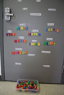 Students practice spelling each others names with letter magnets ...could do with sight words too!