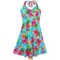 hoopla blue napali halter hawaiian wedding sun dress :: Plus Size... ($55) ❤ liked on Polyvore featuring dresses, plus size sundresses, sundress dresses, blue sundress, blue dress and womens plus size sundresses