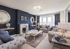 Check out this property for sale on Rightmove! Spacious lounge with bi-fold doors Cream Living Rooms, Blue Living Room Decor, Living Room Color Schemes, Formal Living Rooms, Living Room Grey, Home Living Room, Interior Design Living Room, Living Room Designs, Navy Blue And Grey Living Room