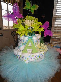 Diaper cake, love the tutu!
