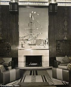 Queen Mary ~ Real fires could be lit in the first class smoking room....