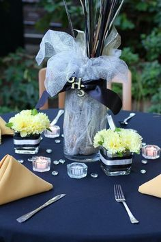 Class reunion centerpieces with silk flowers and ribbon in school colors Reunion Centerpieces, Class Reunion Decorations, Birthday Party Centerpieces, Graduation Decorations, Graduation Centerpiece, Graduation Ideas, Table Centerpieces, Table Decorations, High School Class Reunion