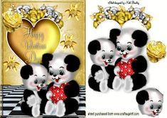 VALENTINE PANDA BEARS WITH GOLD HEART AND ROSES on Craftsuprint - Add To Basket!