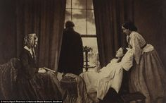 """""""Fading Away, 1858, Henry Peach Robinson, shows a young girl on her deathbed, dying of consumption...an example of combination printing with five different negatives used to make one print."""" It was controversial for showing death."""