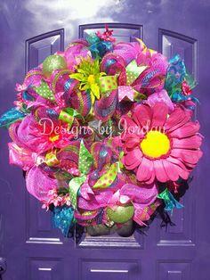 Fiesta+Door+Wreath+Summer+Fun+Door+Wreath+by+DesignsbyJordanTX,+$75.00