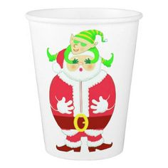 Surprised Santa paper cup - home gifts ideas decor special unique custom individual customized individualized