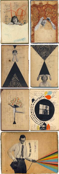 Hollie Chastain, Book Cover Collages, Contemporary collage on old book covers, The Hole Summer Reading exhibit (Mix Art) Art And Illustration, Collage Kunst, Collage Book, Dada Collage, Collage Artists, Collage Collage, Collage Design, Art Postal, Illustrator