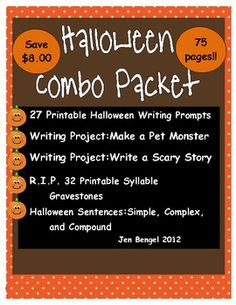 75 pages of Halloween resources for reading, writing, and language! 6 resources combined into one combo pack for Halloween!