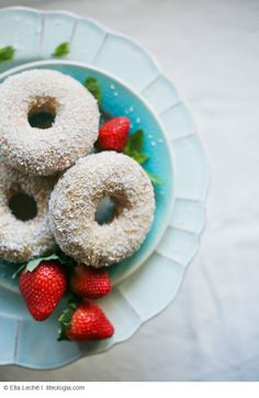 COCONUT VANILLA DONUTS  / DOUGHNUTS    (dairy-free, egg-free/ vegan, gluten-free/ wheat-free, all natural, refined-sugar free)