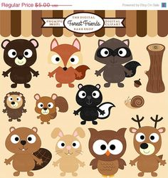40 OFF woodland clipart digital clip art owl by DigitalBakeShop, $3.00