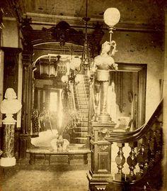 """Foyer 1870's"" Victorian Rooms, Victorian House Interiors, Victorian Home Decor, Victorian Parlor, Victorian Life, Victorian Photos, Victorian Furniture, Victorian Design, Victorian Fashion"