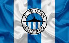 Lataa kuva FC Slovan Liberec, Football club, Liberec, Tšekin Tasavalta, Slovan tunnus, logo, sininen silkki lippu, Tšekin jalkapallon mestaruuden