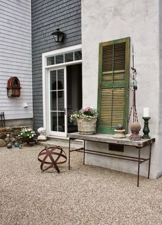 leaning shutters on top of table; for the love of a house: the summer terrace