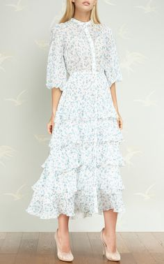 Tiered Floral Dress by ULYANA SERGEENKO DEMI COUTURE for Preorder on Moda Operandi