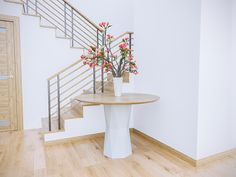 Minimal, airy elegance. The transformation of a simple hallway with one strategic piece. The Ethereal Geometry Oak Table. Handcrafted Lacquered Polygon Base with Slanted Round Oak Veneer Top with Solid Oak Edges. Exclusively designed for Shape & Furnish by Ryan Samuelson. Customizable. https://shapeandfurnish.com