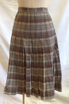 Vintage Plaid Pleated Skirt  Brown Tan Gray by ShipyardMillies