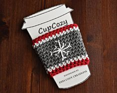 Christmas Cup Cozy, Snowflake, Cup Sleeve, Coffee Cozy, Beverage Cozy, Drink Cozy, Crochet, Teacher Gift, Babysitter Gift, Secret Santa