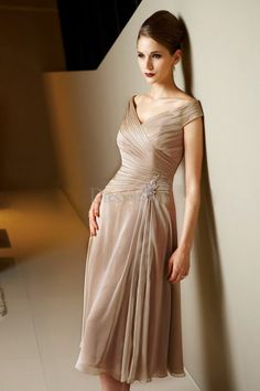 Tea-length Sheath Mother of the Bride Dress with Delicate Ruches and Brooch