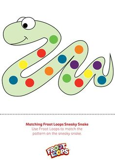 Matching Froot Loops Sneaky Snake is a great way to help your kids match colors.