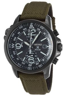 Image for Men s Prospex Solar Chrono Dual Time Army Green Nylon Blk Dial  and IP SS from World of Watches 8fe4566b82