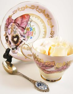Pink Sugar Skull Up-cycled Vintage Tea Cup and Saucer Set by Little Lala via Etsy