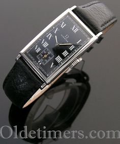 stainless steel rectangular vintage Omega watch, measures 20 x 38 mm signed Omega, signed Omega 15 jewels, black dial, white Roman numerals Vintage Omega Watches, Hermes Watch, Roman Numerals, 1930s, Art Nouveau, David, Jewels, Steel, Accessories