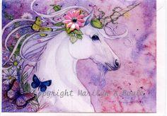 BLANK ART CARD  Unicorn 3d flower gems by OriginalSandMore on Etsy, $10.50