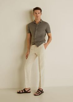 Smart collection Organic cotton fabric Organic linen fabric Dart on the front Two side pockets Coin pocket Two welt pockets with button on the back Waist with adjustable inner cord Cuffed hem Zip and button fastening Linen Pants Outfit, Linen Trousers, Smart Casual Menswear, Men Casual, Mens Smart Trousers, Mens Fashion Wear, Male Fashion, Outfits Hombre, Stylish Men
