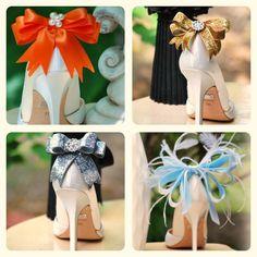 Ivory Sparkly Bow Shoe Clips LAST SET Bride Bridal by sofisticata