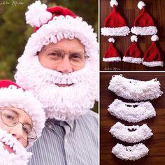 Double Loop Crochet Santa Beard Hat Pattern