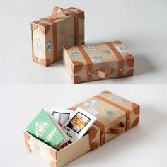 DIY Matchbox Suitcase with Link to Free Travel Stickers Tutorial from Kimbles on here. Someone asked where to get matchboxes and they have them at some Dollar Stores and craft stores.For more unique matchbox DIYs (magic opening boxes,. Matchbox Crafts, Matchbox Art, Diy Origami Lampe, Diy And Crafts, Paper Crafts, Candy Crafts, Travel Crafts, Mini Craft, Mini Things