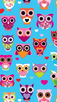Cute colorful retro style owl illustration pattern retro - Cartoon owl iphone wallpaper ...