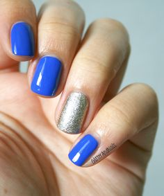 love the accent nail in Essie Beyond Cozy, a perfect white-gold glitter (with Essie Butler Please)