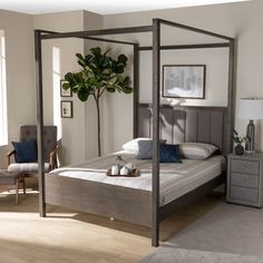 Shop Natasha Modern and Contemporary Platform Canopy Bed - On Sale - Overstock - 31227065 - Queen Bedroom Furniture Stores, Furniture Deals, Platform Canopy Bed, Beds For Sale, Mdf Wood, Large Furniture, Queen Size, Contemporary, Modern