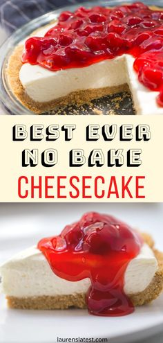 No Bake Cheesecake has never been so easy or delicious! A silky smooth cream cheese filling surrounded by a buttery graham cracker crust. Enjoy plain or with any desired toppings with no oven required. The perfect summer dessert. Easy No Bake Cheesecake, Baked Cheesecake Recipe, Raspberry Cheesecake, Cheesecake Bites, Pumpkin Cheesecake, No Bale Cheesecake, Cheesecake Deserts, Healthy Cheesecake Recipes, Homemade Cheesecake
