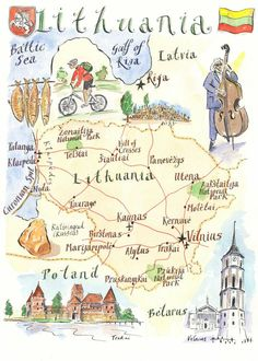 Lithuania is above Poland and below Latvia! Travel Maps, Travel Posters, Lithuania Travel, Poland Travel, Country Maps, Thinking Day, Bhutan, Book Illustration, Map Illustrations