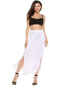 Zeagoo Womens Front Split Summer Beach Ankle Maxi Long Skirt - best woman's fashion products designed to provide Fashion Over, Pop Fashion, Skirt Fashion, Womens Fashion, Fashion Design, Fashion Fall, Long Maxi Skirts, Women's Skirts, Sexy Blouse