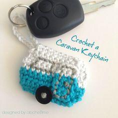 Caravan Keychain. ﻬஐCQஐﻬ #crochet #spring #applique