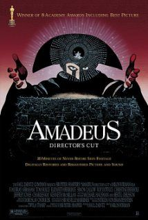 Amadeus (1984) Highly fictionalized story of Wolfgang(Wolfie) Amadeus Mozart.  Nominated for 11 Academy Awards and won 8.  Said to be a drama, I fail to see that aspect of the film amidst all the frivolity.  To me it should, at best, be watched and remembered as a light-heart comedy.  With all that being said, I still enjoyed this movie and have watched it several times.