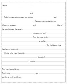 graphic organizer for a compare contrast essay english teacher  compare and contrast paragraph