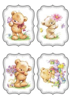 Marina Fedotova Atc Cards, Journal Cards, Cute Images, Cute Pictures, Cute Teddy Bears, Tatty Teddy, Kirigami, Cute Illustration, Vintage Prints