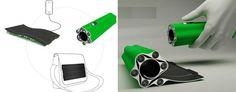 Solar powered LED flashlight with flexible / foldable solar panels hidden beneath...