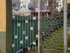 Dots and circles in double iron gate on Prince's Islands