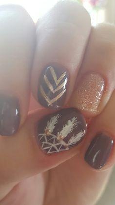 Fall nails- shellac, dream catcher More