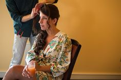 Bride getting her hair done for the wedding! Up-do by Ian McCabe. Meggie & Kevin's Hayfields Country Club wedding by Charlotte Jarrett Events