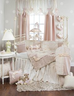 Ribbons and Roses crib bedding