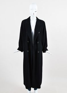 Max Mara Black Wool Oversized Double Breasted Ankle Length Coat Plus