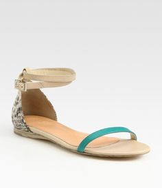 26eac9c61 Amber Leather Pythonprint Leather Colorblock Sandals Spring Sandals