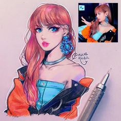 Lisa ♥💗She looked so good in the new music video that I just had to draw her ۹(>௰ Cartoon Sketches, Drawing Sketches, Sketchbook Inspiration, Blackpink Lisa, Blackpink Photos, Kpop Girls, Kpop Girl Groups, Kpop Fanart, Kpop Drawings