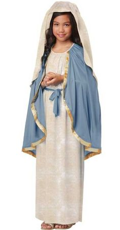 Dress up as the Virgin Mary in this high quality Mary costume for girls by California Costumes. This Virgin Mary kids costume is perfect for your next nativity or school Christmas play. See below for full description and size details.